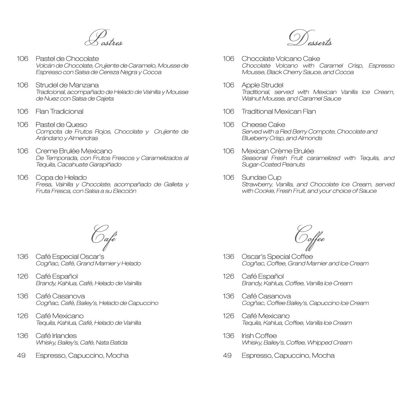 Restaurant Oscars-menu-postres-cafes