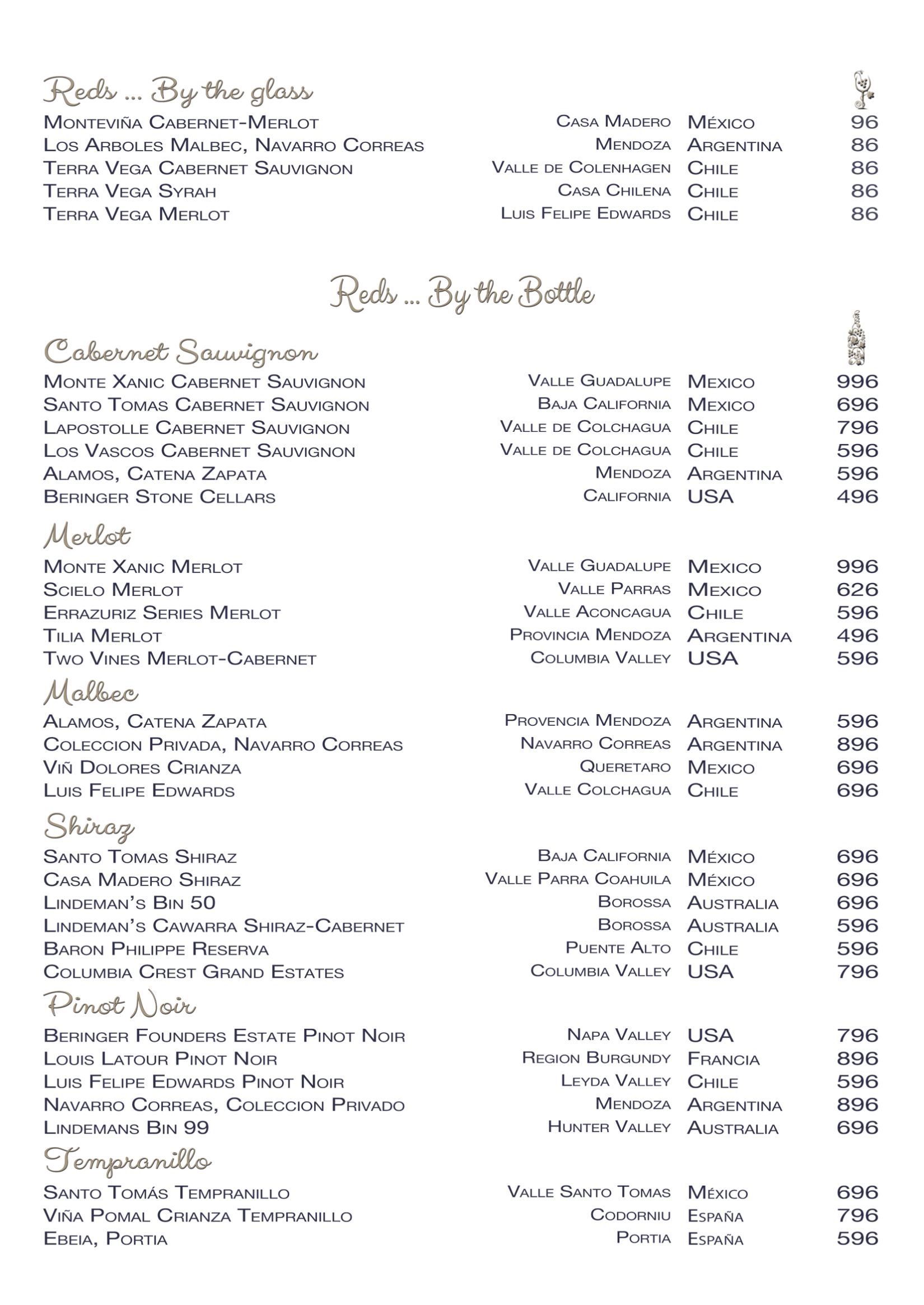 Restaurant Oscars - Red Wine List