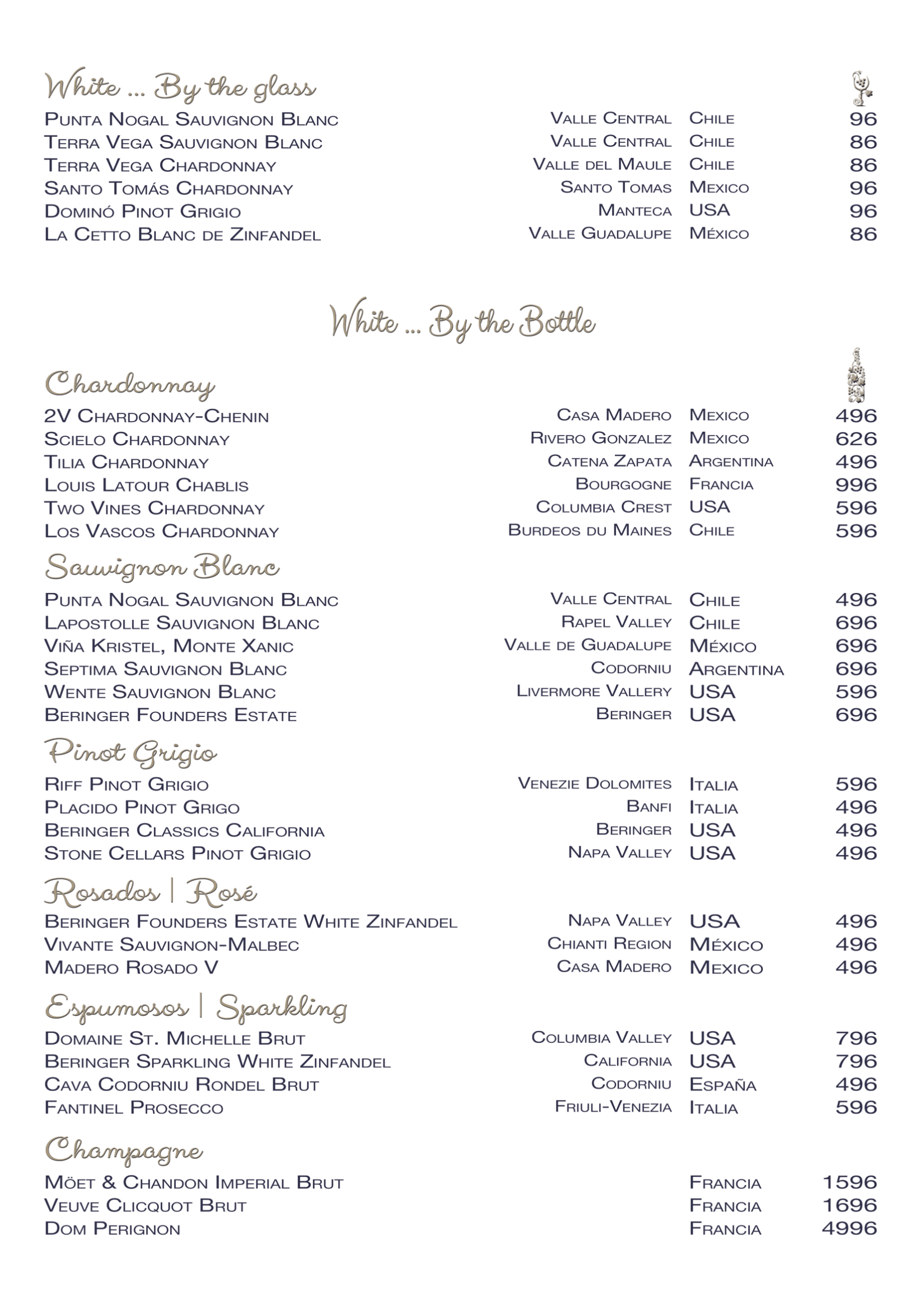 Restaurant Oscars - White Wine List